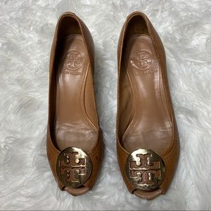 Tory Burch Brown Peep Toe Wedges Size 6